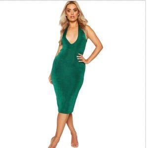 Boohoo Plus Plunge V-Neck Green Dress MIdi Dress